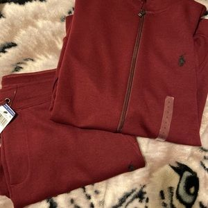 Red & grey polo sweat suit